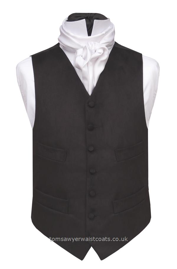 Black Moleskin High Neck Four Pocket Waistcoat