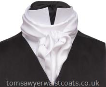 Featured Neckwear - White Silk D'Arcy Scarf/Cravat