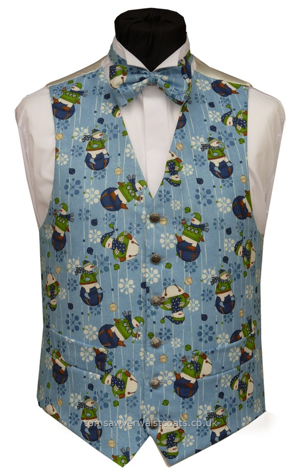 Snowmen On Blue Christmas Waistcoat Christmas Tailored