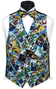 Postcards from Santa Waistcoat-Postcards from Santa's travels throughout the world adorn the blue background on this waistcoat. Waistcoat Style- TS382- Front Fabric- Cotton- Colour- Blue with multicoloured print- Buttons- Silver Patterned - - Back & Lining- Navy Polyester Twill- You can click here to view our waistcoat size chart. -