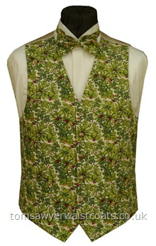 Holly and Ivy Festive Waistcoat-Holly leaves and berries and Ivy leaves adorn this rich cream festive waistcoat. Waistcoat Style- TS384- Front Fabric- Cotton- Colour- Cream and Green Leaves pattern- Buttons- Gold Pattern- - Back & Lining- Rich Cream Satin- - You can click here to view our waistcoat size chart.