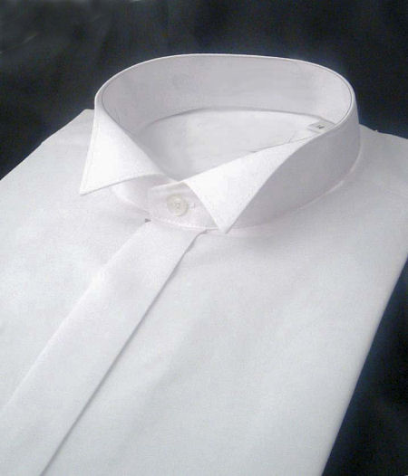 Shirts : Wing Collar Shirts : White Wing Collar Dress Shirt Regular Length with Single Cuffs