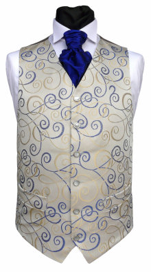 Distinctive large bold swirls in royal blue and cream on a waistcoat with a silver grey background. Waistcoat Style- TS 151- Front Fabric- Broadway (non silk)- Colour- Royal- Buttons- Fabric covered (not as photographed)- Back & Lining- Silver Satin- You can click here to view our waistcoat size chart.
