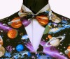 The sky at night - galaxies, planets and stars on a black background. Style- Pre-Tied Bowtie- Colour- Multi-coloured pattern on black- Fabric- Cotton-