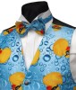 Cheery yellow rubber ducks frolic across this blue bubble print bowtie- Style- Pre-Tied Bowtie- Colour- Yellow & blue- Fabric- Cotton-