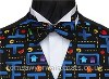 Pac Man Pre-tied bowtie- Style- Pre-Tied Bowtie- Colour- Blue on black background- Fabric- Cotton-