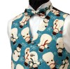 Matching our Vintage Teal Snowman waistcoat. Please be aware that due to the size and spacing of the Snowmen, there may only be glimpses of the snowmen showing on this bow tie. - Style- TS522N Ready Tied Bow tie- Fabric- Cotton- Colour- Russet/Burgundy-